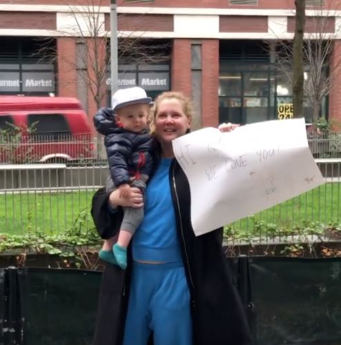 Amy Schumer and Son Gene Adorably Wave at Her Dad From Outside While Social Distancing: 'We Love You'