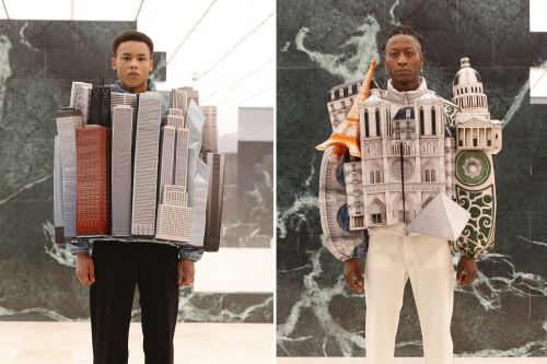 Virgil Abloh's Louis Vuitton show included 3D skyline coats