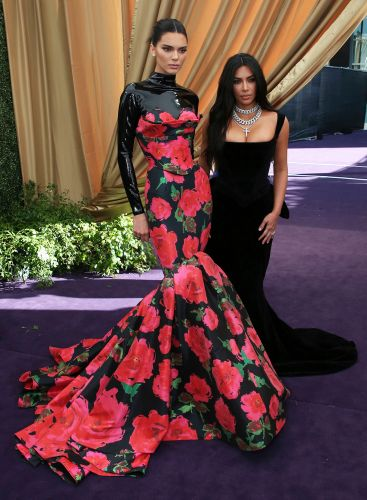 Kim Kardashian and Kendall Jenner Look Sleek in Fitted Gowns on the 2019 Emmys Red Carpet