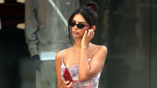 What a Babe! Emily Ratajkowski Looks Totally Parisian Chic in a Patchwork Dress While Out and About in NYC
