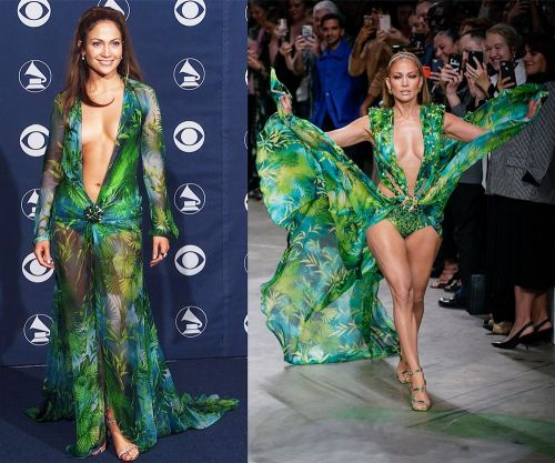 Spot the Difference: From Grammys to Milan Fashion Week, This Is The Evolution of JLo's Versace Jungle Dress