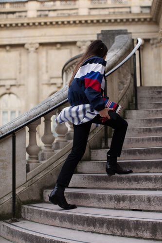 On the Stairs.At Rochas, Paris
