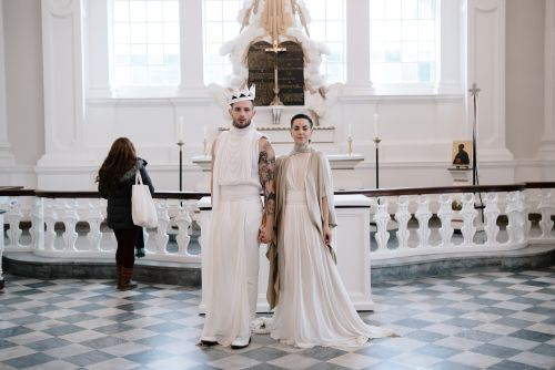 'Younger' star wears gender-bending outfit for his polyamorous queer wedding