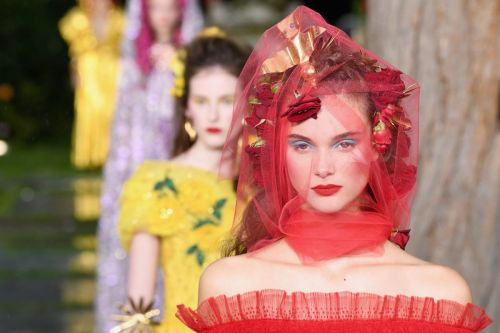 Rodarte's Spring 2019 Runway Featured Picasso-Inspired Makeup and Spectacular, Rose-Covered Hair