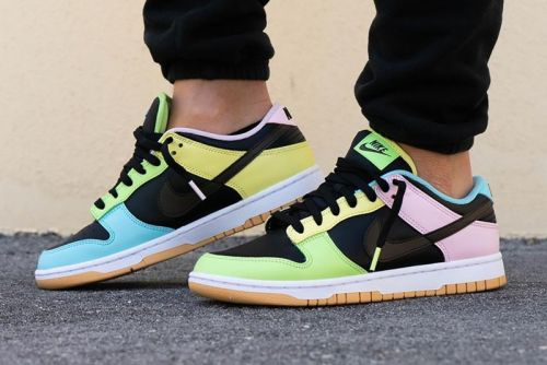 "On-Foot View of the Vibrantly-Accented Nike Dunk Low ""Free.99"" in Black"