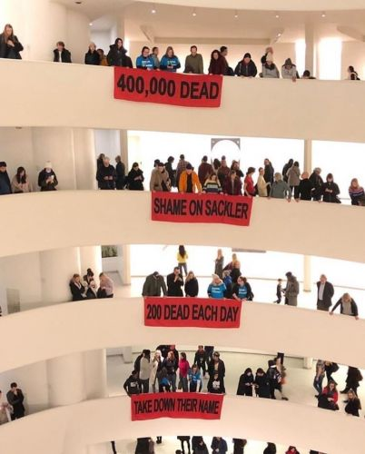 Nan Goldin's activist group protest at the Guggenheim and Met