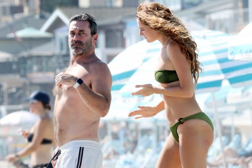 Jon Hamm hits the beach with bikini-clad girlfriend Anna Osceola