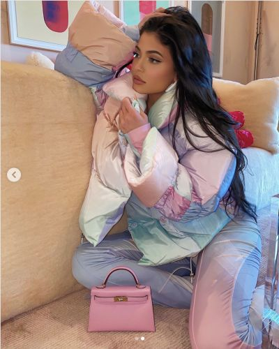 Kylie Jenner Wears Pastel Puffer Jacket and Matching Pants
