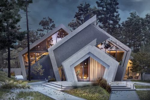 Karina Wiciak Designs the Mountain-Inspired Concrete 'Pentahouse'