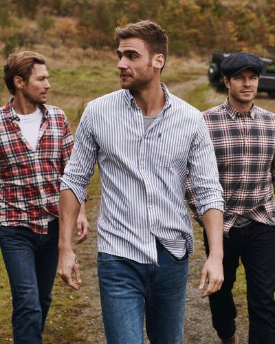 George, Paul & Robertas Venture Outdoors in Barbour Shirt Department Fall '19 Collection