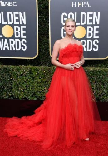 Lili Reinhart Turns Up the Heat in a Red Gown at the 2019 Golden