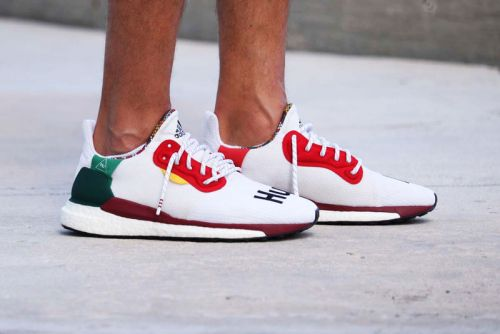 Pharrell Williams x adidas Solar Hu Glide St in White Gets Early On-Feet Look