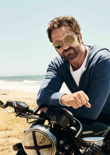 Gerard Butler Hits the Beach for OLYMP Campaign