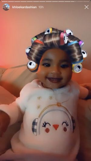 Baby True Thompson is Obsessed With the Coke Can Hair Rollers Filter on IG and We're in Tears
