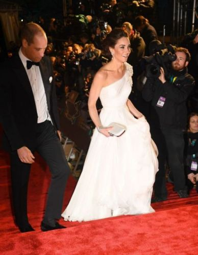 Kate Middleton Stuns in an Alexander McQueen One-Shoulder White