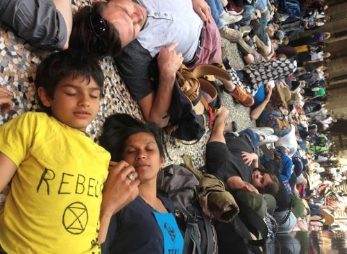 Extinction Rebellion stage die-in at the Natural History Museum