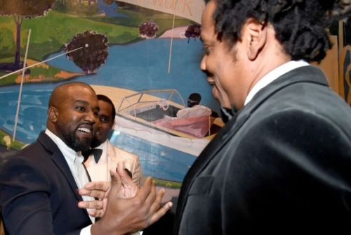 Kanye West and JAY-Z In Good Spirits Together for Diddy's 50th Birthday Party
