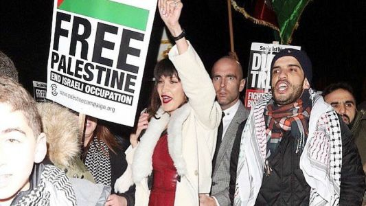 """Bella Hadid Attended a """"Free Palestine"""" Protest in London"""