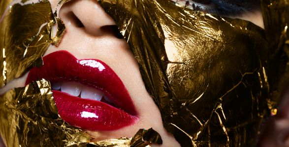 Billionaire Face: 11 gold-leaf beauty looks by Rankin
