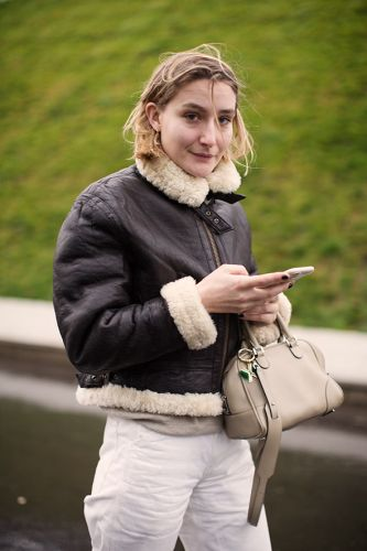 On the Street.Shearling Bomber, Paris